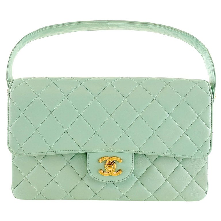 fcd36cf21d26e7 Chanel Mint Green Leather Double Sided Classic Bag For Sale at 1stdibs