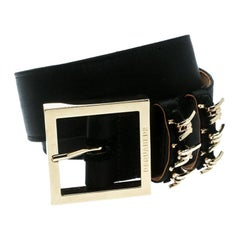 Dsquared2 Black Satin Buckle Belt Size 85 CM