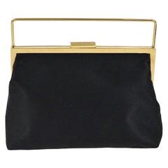 Gucci Black Satin Gold Mini Small Party Kisslock Evening Top Handle Satchel Bag
