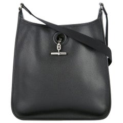 Hermes Black Leather Silver Toggle Men's Women's Carryall Shoulder Bag