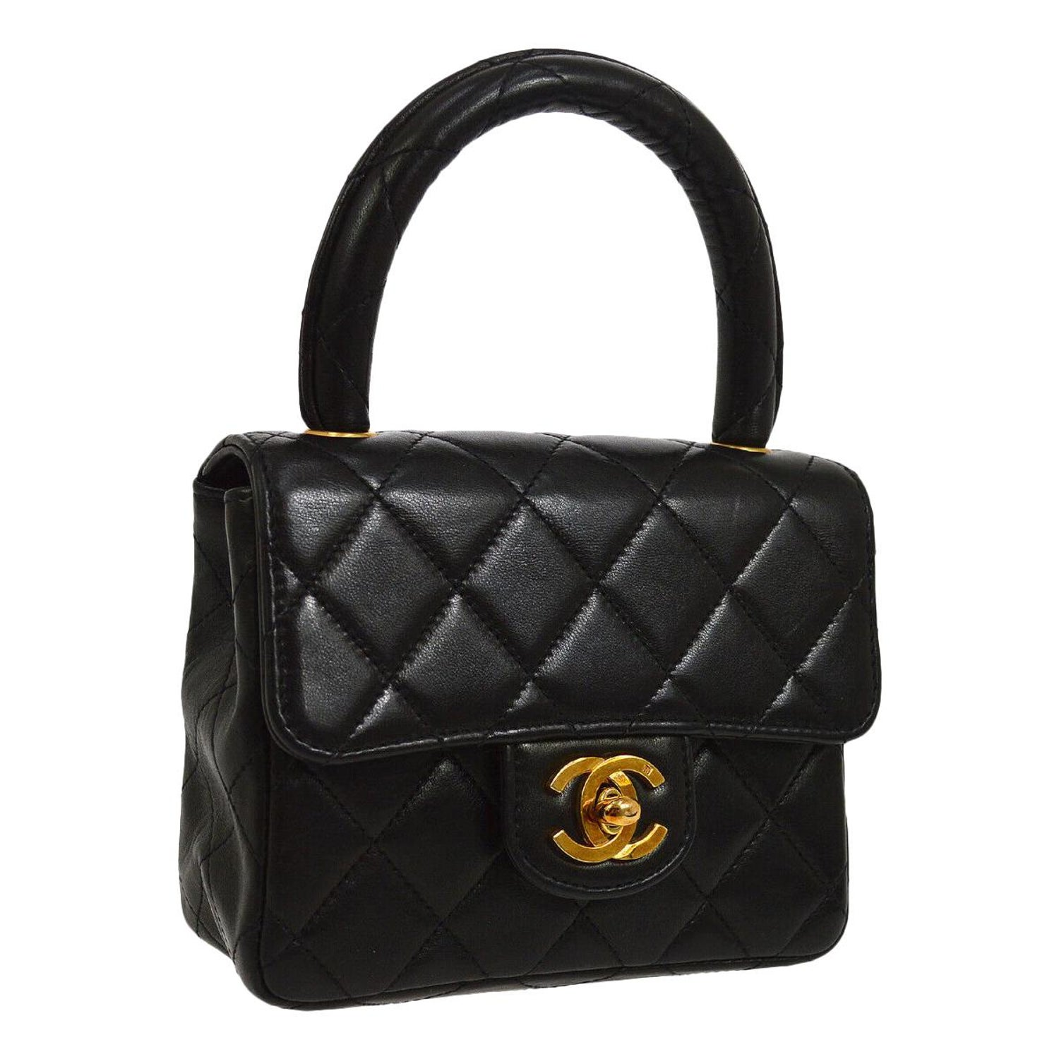 1aebb7f6db7c Chanel Black Leather Lambskin Small Party Evening Top Handle Satchel Flap  Bag at 1stdibs