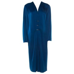 Lanvin Blue Satin Plunge Neck Pleated Dress M