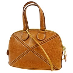 Hermes Leather Cognac Leather Gold Small Top Handle Satchel Shoulder Bag in Box