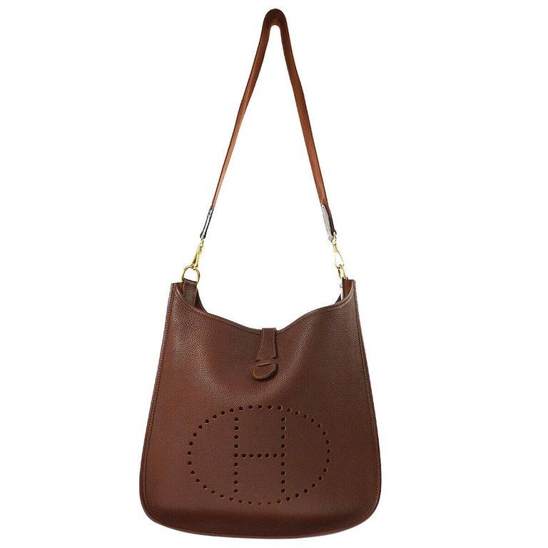 "Hermes Chocolate Leather Canvas ""H"" Logo Men's Women's Crossbody Shoulder Bag For Sale"