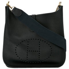 "Hermes Black Leather Canvas ""H"" Logo Men's Women's Crossbody Shoulder Bag in Box"