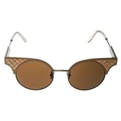 Bottega Veneta Bronze/Brown BV0113S Round Sunglasses