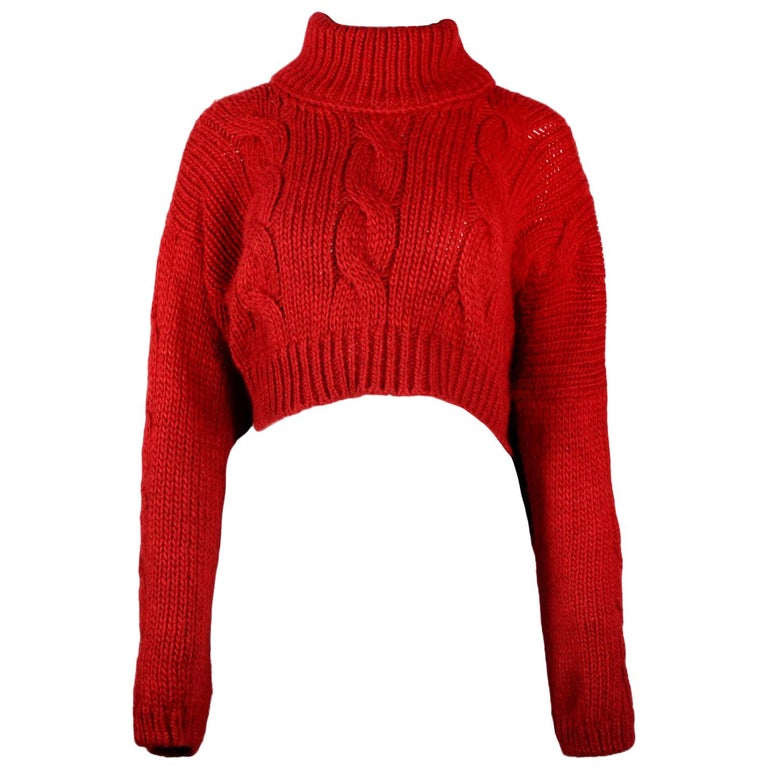 34ed09e77 Vivienne Westwood Red Wool Blend Cropped Cableknit Turtleneck Sweater Sz S  For Sale