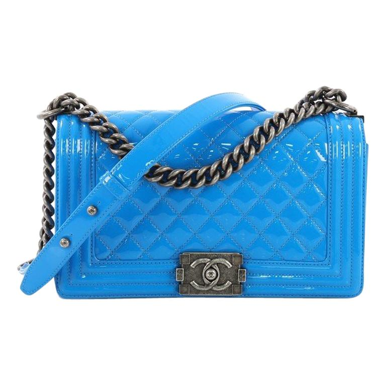 785ac86872f3 Chanel Boy Flap Bag Quilted Patent Old Medium For Sale at 1stdibs