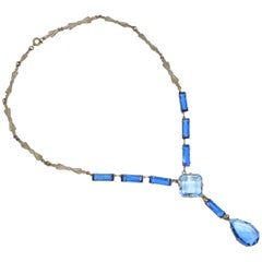 Art Deco Czech Blue Crystal Drop Necklace, 1920s