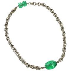 Art Deco Emerald Pate De Verre Glass & Interlocking Chain Necklace, France 1920s