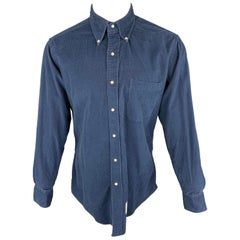 THOM BROWNE Size XL Navy Corduroy Button Up Long Sleeve Shirt