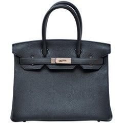 Hermes Birkin 30cm Black Togo Palladium Hardware Handbag  Mint