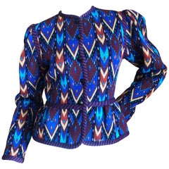 Yves Saint Laurent Rive Gauche 1970's Knit Ethnic Print Jacket with Cord Trim