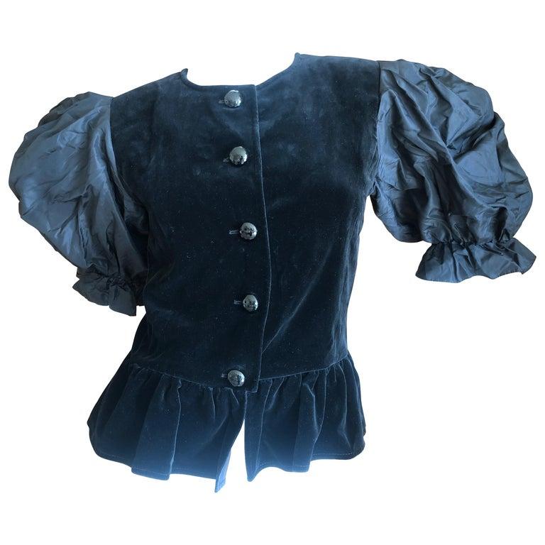 2e7770a2baa Yves Saint Laurent Rive Gauche 1970's Black Velvet Top w Taffeta Balloon  Sleeves For Sale