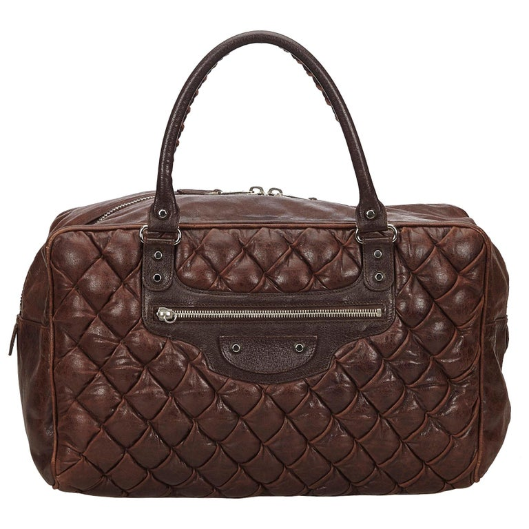f39e5b2980 Balenciaga Brown Dark Brown Leather Motocross Matelasse Handbag Italy w/  Mirror For Sale