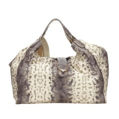 Gucci White Ivory Python Leather Leather Python Soft Stirrup Shoulder Bag Italy
