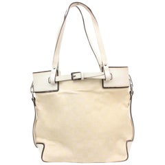 Gucci Ivory Monogram Belt Buckle 868994 Off-white Canvas Tote