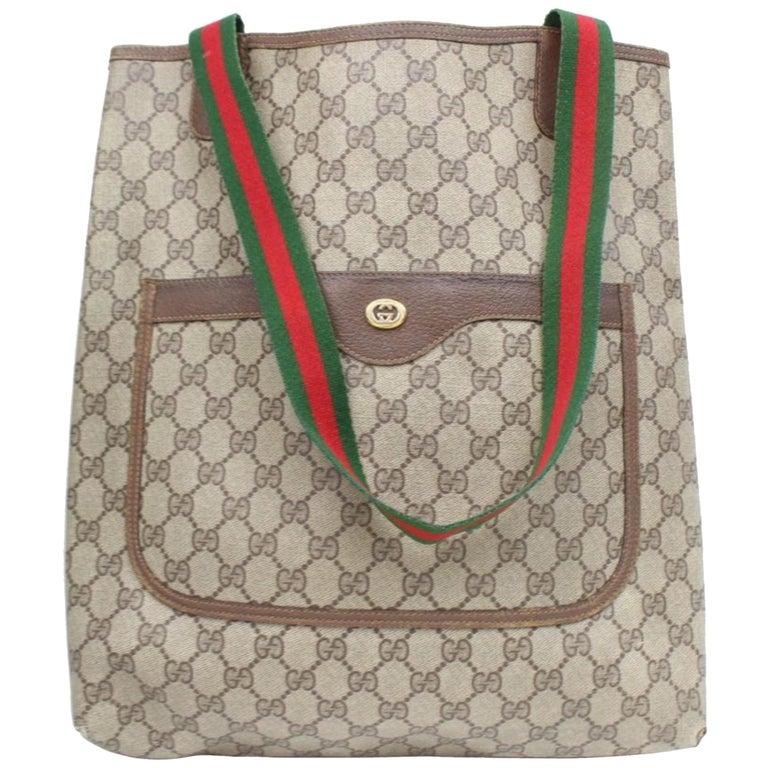 f9de4031c7160a Gucci Sherry Supreme Monogram Web Large Shopper 868883 Beige Coated Canvas  Tote For Sale