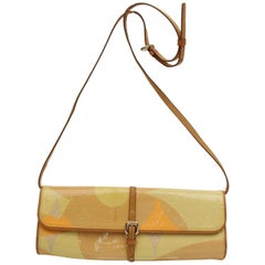 Louis Vuitton Pochette Monogram Vernis Fleur 868598 Yellow Patent Leather Should