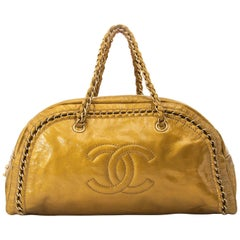 Chanel Gold Patent Leather Bowling Bag