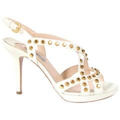 ff52c37a512 Prada White Studded Saffiano Platform Sandals - Size 38