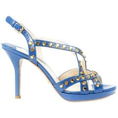 Prada Blue Studded Saffiano Platform Sandals - Size 38