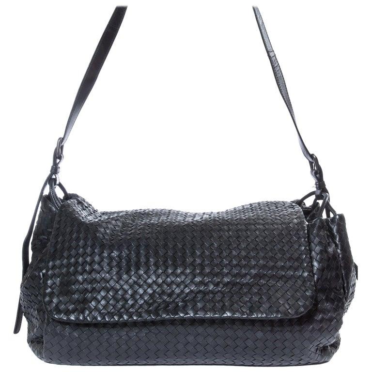 9a384ff33646c Bottega Veneta Black Intrecciato Nappa Leather Flap Shoulder Bag For Sale