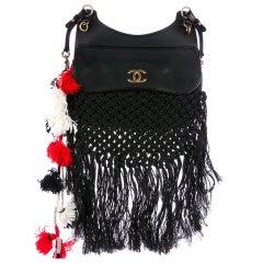 576232c08b33 Chanel Dubai Resort Runway Limited Edition Fringe Crochet Pom Pom Bag