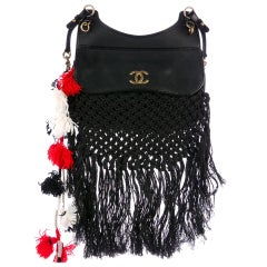 Chanel Dubai Resort Runway Limited Edition Fringe Crochet Pom Pom Bag