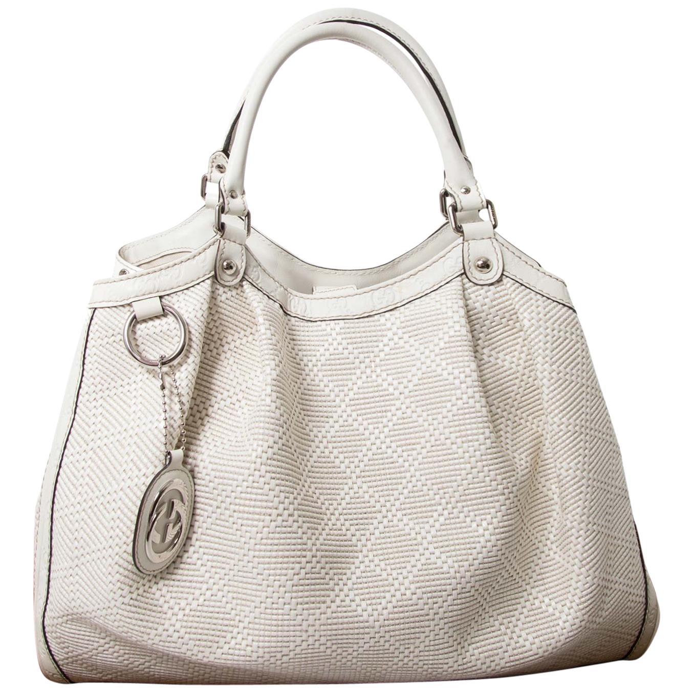 Gucci Ivory Straw 'Sukey' Bag