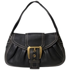 Céline Black Stiched Leather Buckle Shoulder Bag