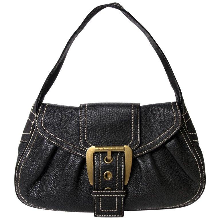 Céline Black Stiched Leather Buckle Shoulder Bag