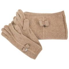 Chanel Set Beige Scarf + Gloves