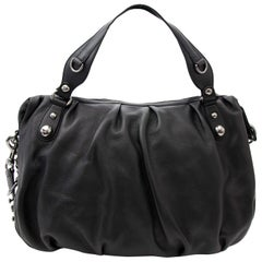 db3a6d625c4 1960s Gucci Black Leather Top Handle Handbag with Crescent Lock For ...