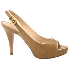 Prada Slingback Peep Toe Pumps - Size 36.5