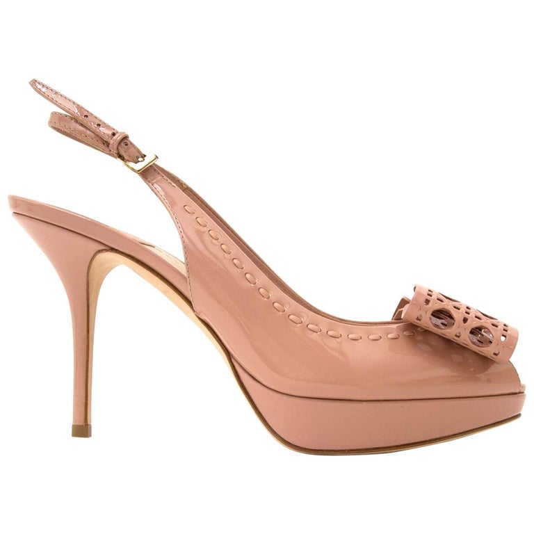 Dior Patent Leather Butterfly Slingback Heeled Sandals - Size 37.5 For Sale
