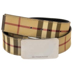 Burberry Beige Nova Check Belt - Size 100