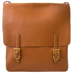 Delvaux Brown Leather Messenger Bag