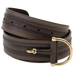 Gucci Grey Leather Horsebit Belt - Size 85