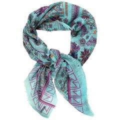 Versace Cyan Blue Native American Silk Modal Scarf