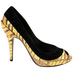 Christian Dior Black And Gold Peep Toe Pumps - Size 38