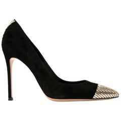 Gianvito Rossi Black Suede Metallic Detail Pumps - size 37.5