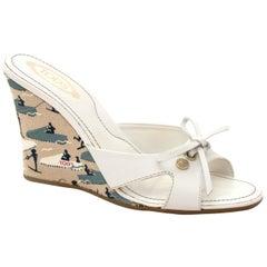 Tods White Sandal Wedges