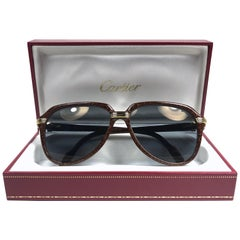 Vintage Cartier Vitesse Brown Jaspe 60MM 18K Gold Plated Sunglasses France
