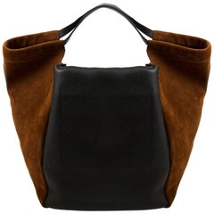 Givenchy Real Trapeze Black And Brown Suede Smooth Leather Bag