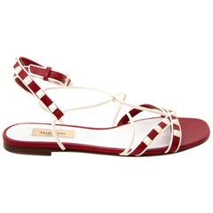 Valentino Red And White Rockstud Sandals - Size 37.5