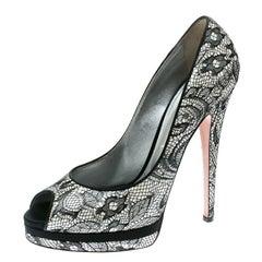 Casadei Black Lace Peep Toe Platform Pumps Size 39