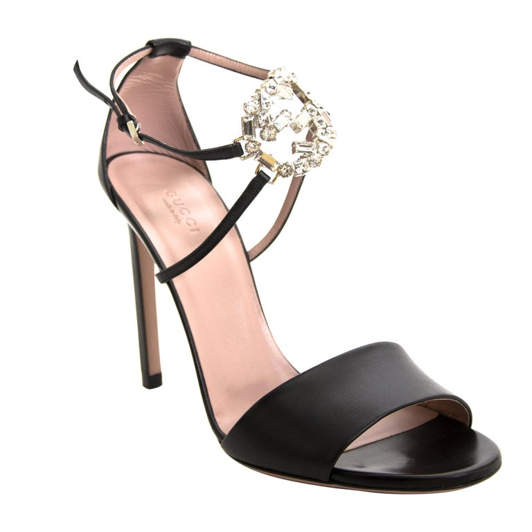 77bbcb509ca Gucci Black Leather Crystal Logo Ankle Strap Sandals For Sale at 1stdibs