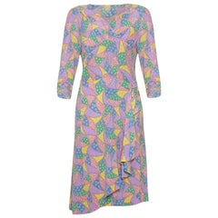 1940s Novelty Print Colouful Rayon Patchwork Dress