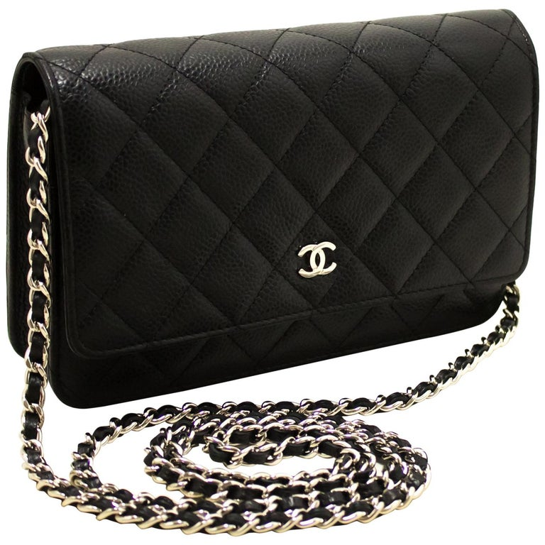 3ea27e130eca CHANEL Caviar WOC Wallet On Chain Black Shoulder Crossbody Bag For Sale